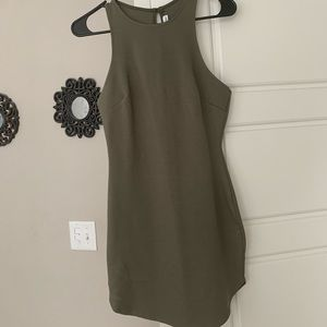 Fitted olive green dress